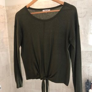 Madewell olive tie front top